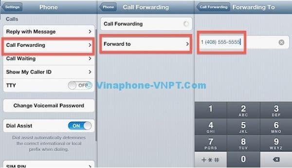 Chuyển cuộc gọi Vinaphone trả sau trên IOS