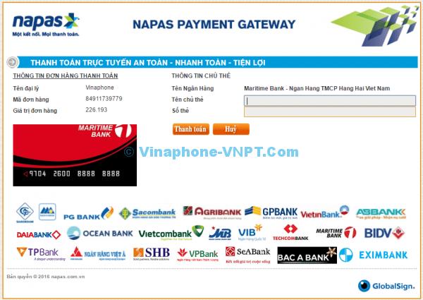 thanh toán cước trả sau vinaphone online
