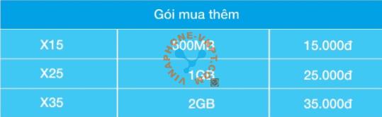 Gói cước Big Data VinaPhone mua thêm