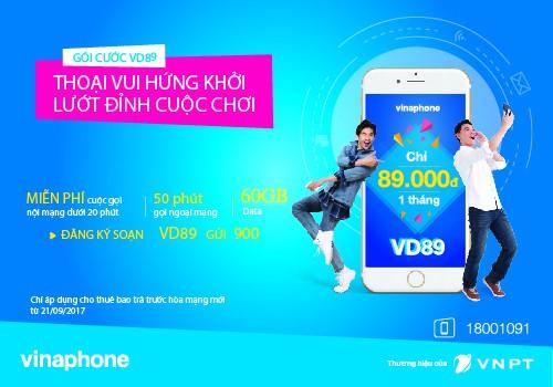 Gói cước VinaPhone trả sau VD89/VD129/VD149
